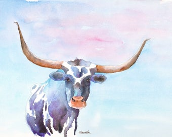 Texas longhorn print original cow painting longhorn painting longhorn art canvas rustic ranch western art abstract longhorn wall art