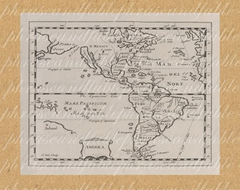 Map Of Americas From The 1600s 324 North America South America New World Map Continent Ocean Home Decor Coast Cartography Adventure Travel