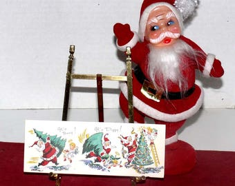Vintage, Santa Claus Christmas Card - Used - Sparkles - Comical