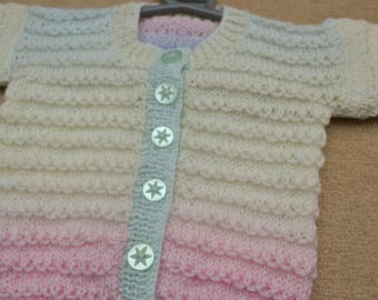Pastel rainbow detail knit cardigan