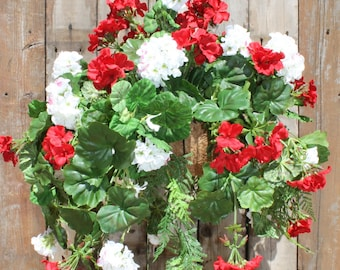 Silk Hanging Plant - Red and White Geraniums with long Greens