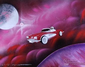 Red Corvette In Nebula Painting