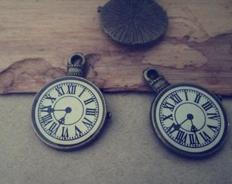 12pcs of Antique bronze Clock pendant charm 18mmx23mm