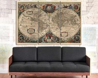 Aquamarine large world map canvas navy blue world map wall vintage 1641 world map canvas art old world map vintage wall art double gumiabroncs Gallery