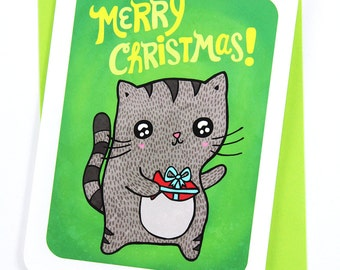 Merry Christmas Cat Present Card- Holiday Card, Christmas card, season's greetings, illustrated holiday card, gifts for cat lover