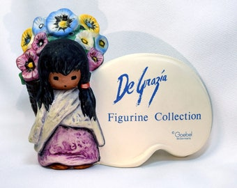 Whimsical Colorful VINTAGE DeGrazia Goebel Native American Child Flowers Advertising Store Shelf Sign Figurine