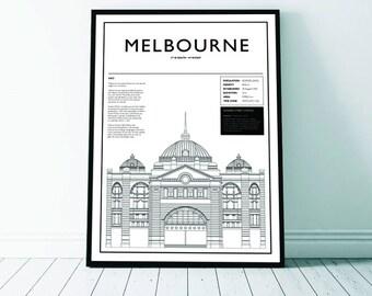 Melbourne Flinders Street art Print, Melbourne, Melbourne Art, Melbourne Print, Flinders Street Station, Digital Download, Architecture