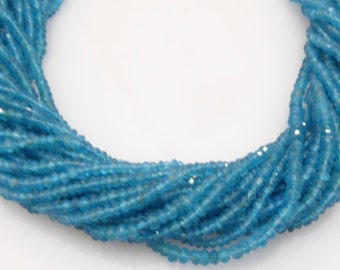 natural neon apatite facetted roundel 3mm