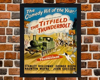 Framed The Titfield Thunderbolt Ealing Railway Comedy Movie / Film Poster A3 Size Mounted In Black Or White Frame