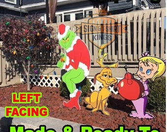 GRINCH Stealing Max The Dog & Cindy Lou Who CHRISTMAS Lights Yard Art Decor LEFT Facing Grinch Fast Shipping