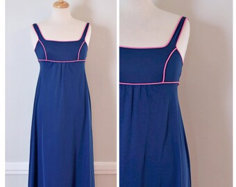 Vintage Nightgown / Vintage 70s Nightgown / Sheer Nightgown / Navy Blue and Pink / Vintage Sleepwear / Nightgown / Vintage Pajamas /Small