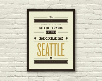 SEATTLE, City Poster - 11 x14 Typography Art Print, Monikers and Mottos, Modern Poster, Retro Home, Nursery, Vintage, Mid Century