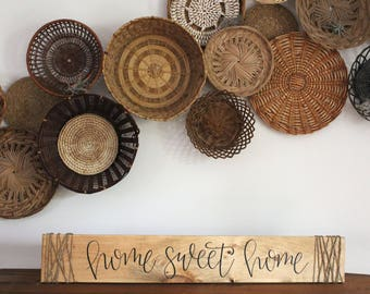 Home Sweet Home with Twine, Wood Sign, Cursive, Handwritten, Handmade, Housewarming, Gift Giving, Custom, Rustic Decor, Home Decor