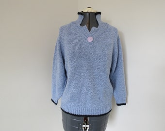 Vintage 1980s Light Blue Henley Sweater - Womens Bust 37 by OHI (B6)