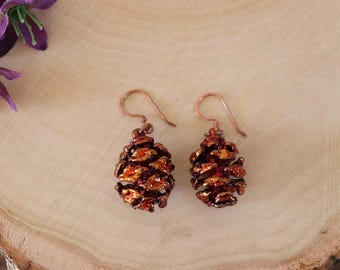 Copper Pinecone Earrings, Antique Copper Pine Cone Earrings, Real PineCone, Copper Pine Cones, Redwood, Pine Tree, Fall, Autum Earrings PC58