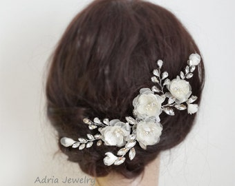 Bridal Hair Piece, Ivory Bridal Hair Comb Wedding Headpieces Large Hair Comb with Silk flowers and Crystals Hochzeit Haarschmuck T160308
