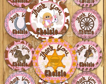 Cowgirl Birthday stickers Party favor  tags Thank you tag Gift tags Cupcake toppers Cow girl tags Baby shower Party tags PRECUT Personalized