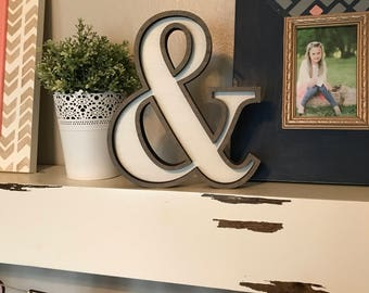 """Ampersand Wooden Marquee Cutout, Laser Cut Wood Letter """"&"""" Sign, And Sign Wooden Wall Decor, Marquee Style Wood Letter Cutout"""