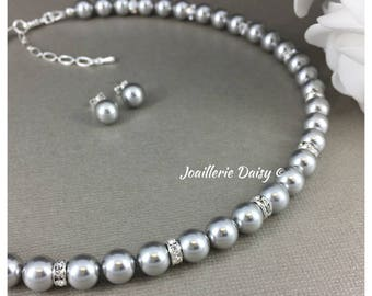 Bridesmaid Jewelry Set Light Gray Necklace Swarovski Stud Earrings Gift for Mother of Bride Mother of Groom Gift Jewelry Maid of honor Gift
