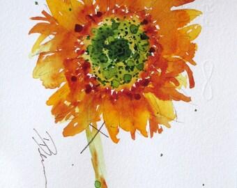 Sunflower Watercolor Sketch Art Print, 8 x 10 Sunflower Art