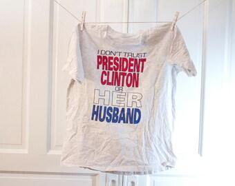 1993 President Bill Clinton shirt - Vintage Classic Platinum Tshirt - Hillary parody Tee L