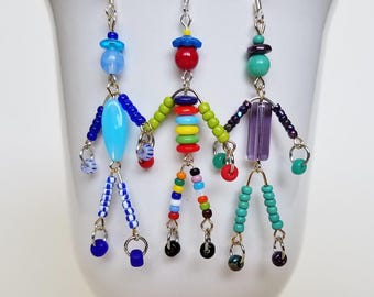 SIDEKICK friend little man/woman/person beaded boho earrings dangle drop friendship gift/bridesmaid gift SusanRodebushArts