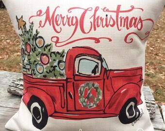 Christmas Pillow- original art- Red Truck