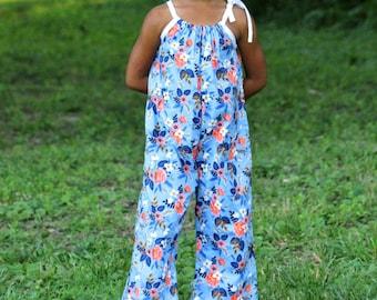 Blue Floral Jumpsuit Romper, Baby Clothes, Toddler Romper, Jumpsuit, Baby Rompers, Summer Romper, Newborn Romper