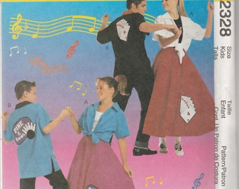McCall's Costumes 2328 Size 7-8-10-12-14-16 Kids' 50's Costumes Sewing Pattern 1999 Uncut