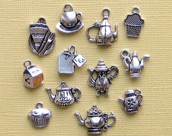 Tea Charm Collection Antique  Silver Tone - 12 Different Charms - COL006