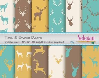 Teal & Brown Deers, Digital Paper,Christmas,Deer,Antlers,Scrapbooking, Paper, 12x12, Printable, Pattern, Wild, Animal, Background, Downl