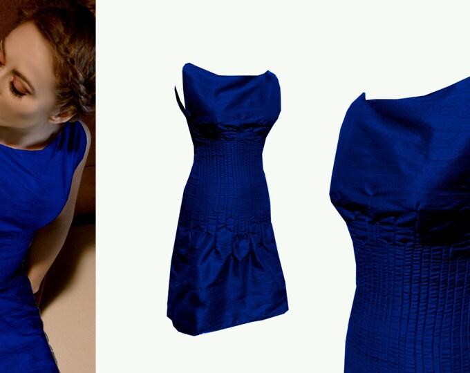 Sale 40% Size MEDIUM silk dress with sewn-in tucks royal blue