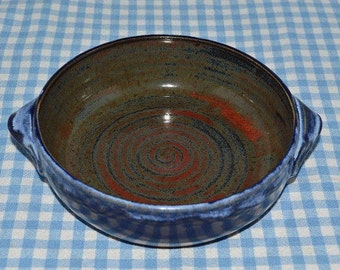 pottery baking dish, baking dish, quiche dish, brie baker, cheese dish, pie plate, appetizer dish, vegetable dish, blue pottery