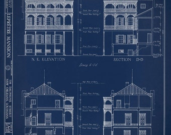 Architectural plans etsy new orleans french quarter mansion architectural drawing blueprint elevations and sections giclee print 18x 24 malvernweather Gallery