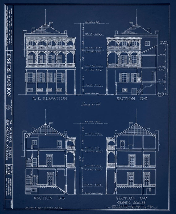 New orleans french quarter mansion architectural drawing like this item malvernweather Images