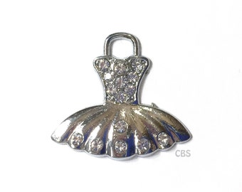 1 Rhinestone Dress Charm or Pendant. Ballet dress Charm, Tutu Charm, or Gown Charm. Ballet Tutu Dress Pendant. Large 1x1.5 inches