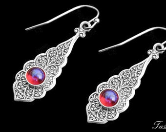 Victorian Art Nouveau Earrings, Dragons Breath, Art Deco Vintage Jewelry