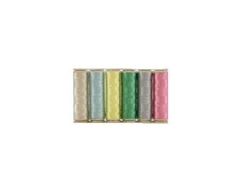 WonderFil InvisaFil Thread Set B006 - Six Spools of 400m 100wt Cottonized Polyester