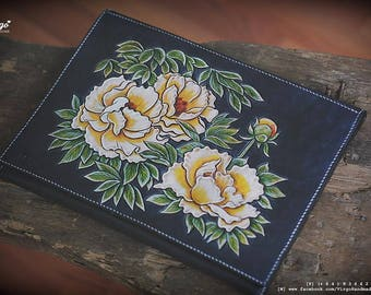 Yellow Peonies Hand Tooled/ Carved Clutch