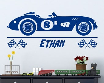 Vintage Race Car Wall Decal with Personalized Name    Boys Room Decor Hot Wheels Sticker