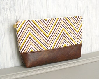 Chevron Zipper Pouch, Zipper Cosmetic Bag, Large Zippered Makeup Bag - Fresca in Chartreuse, White and Brown