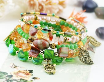 Persian owl 5 tiers bangle (MW revised version) - unakite, dyed jade, pearls and carnelian