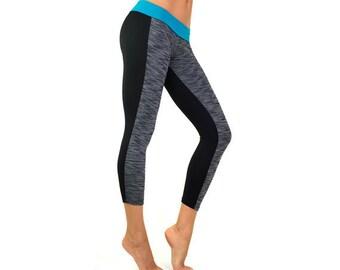 Grey capri yoga leggings - black turquoise workout capri tights - yoga pants - gym leggings - high waistband - soft moisture wicking