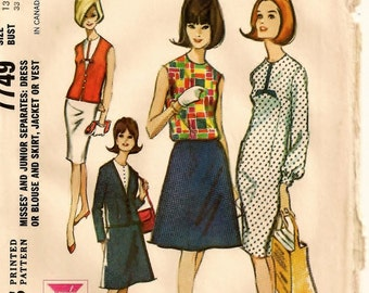 """A Low V-Neck Jacket, Buttoned Vest, Sleeveless Column Dress, Blouse and A-Line Skirt Pattern: Retro Junior Size 13 Bust 33"""" • McCall's 7749"""