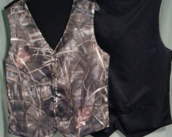 Boys and Men Camo vest with black back. RealtreeAp Max 4 satin shown in photo #7 in fabric selection Also 22 camo colors to select from