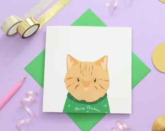Christmas British short hair cat card