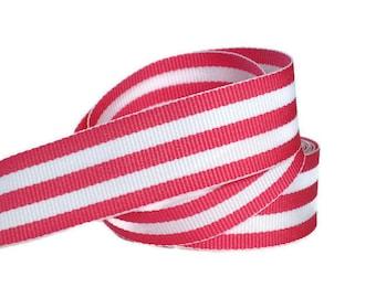 "Pink and White 7/8"" Striped Grosgrain Ribbon by the Yard, Geranium White Hampton, Pink Striped Ribbon, Hair Bow Supplies, Preppy Ribbon"