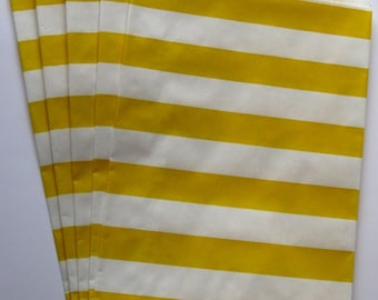 "Set of 10 Yellow and White Horizontal Stripe Design Middy Bitty Bags (5"" x 7.5"")"
