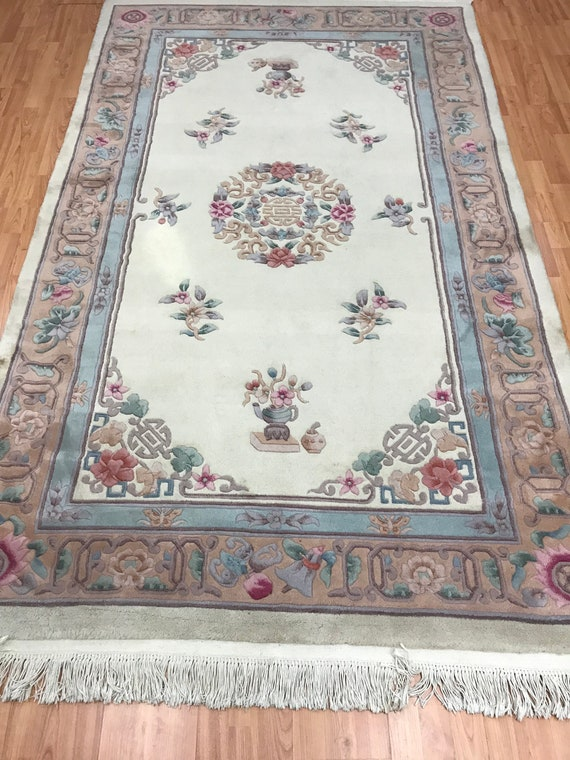 """5' x 8'2"""" Chinese Aubusson Oriental Rug - Full Pile - Hand Made - 100% Wool"""