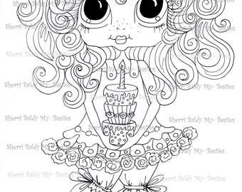 INSTANT DOWNLOAD Digital Digi Stamps Big Eye Big Head Dolls Messy Bessy IMG879 My Besties By Sherri Baldy